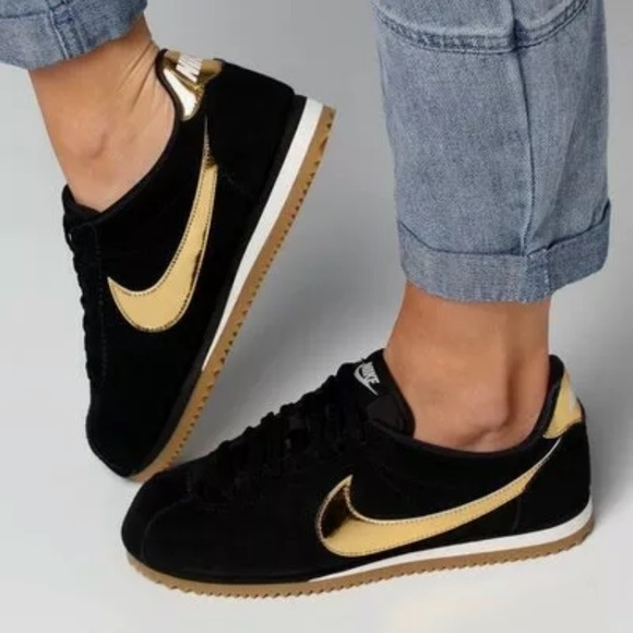 Nike Classic Cortez Black Gold Suede